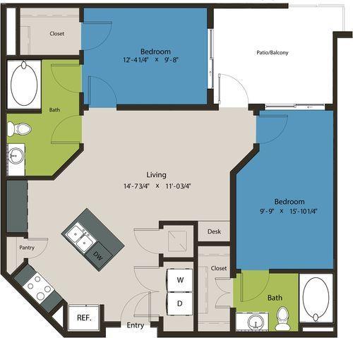 962 sq. ft. B7 floor plan