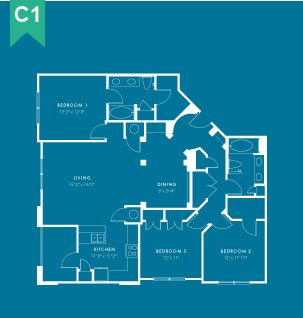 1,553 sq. ft. C1 floor plan