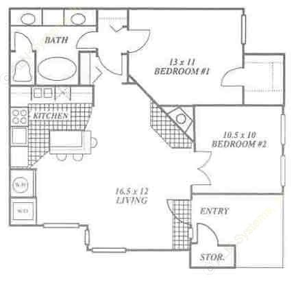 825 sq. ft. 2A floor plan