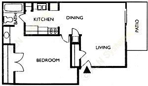 599 sq. ft. CAMDEN floor plan