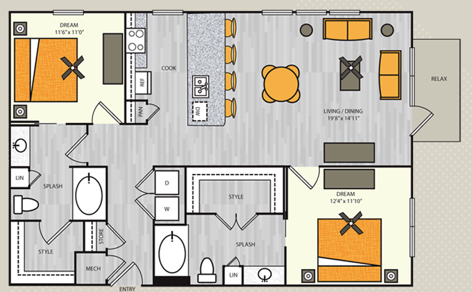 1,170 sq. ft. B4.2 floor plan