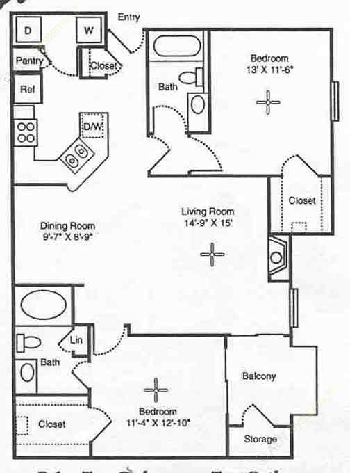 1,059 sq. ft. Pompeii floor plan