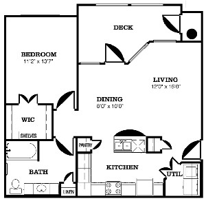 807 sq. ft. B floor plan