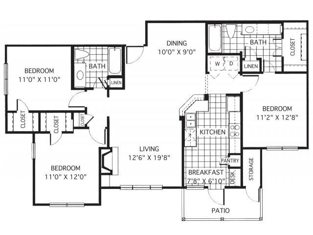 1,321 sq. ft. C1/Cristal floor plan