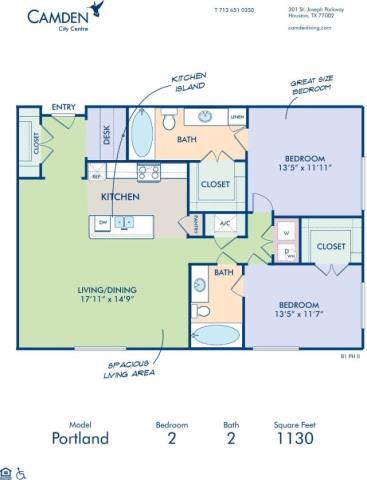1,130 sq. ft. PORTLAND floor plan