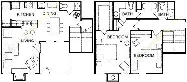 1,115 sq. ft. B4 floor plan