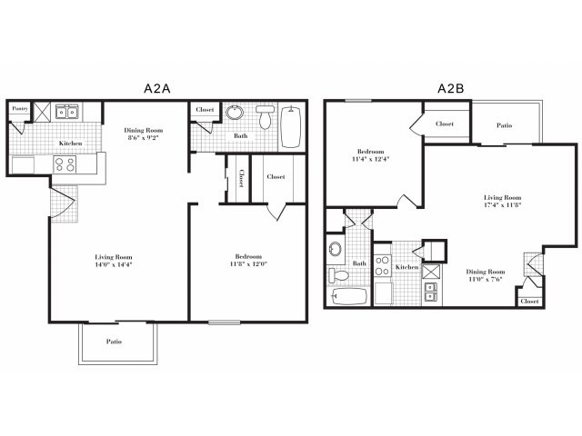 642 sq. ft. A2 II floor plan