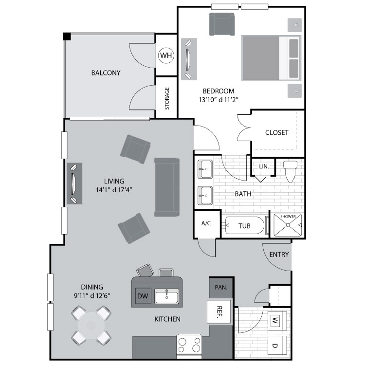 907 sq. ft. A3 floor plan