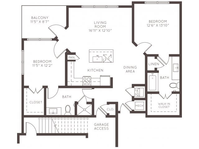 1,172 sq. ft. B2B floor plan