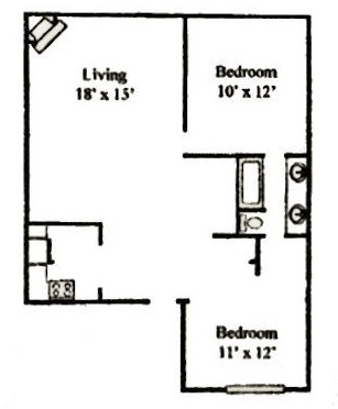 1,038 sq. ft. B floor plan