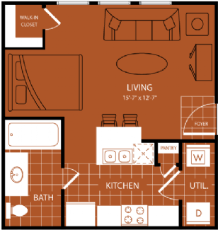 430 sq. ft. Doral floor plan