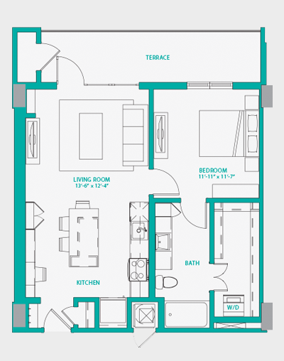 718 sq. ft. A1.2 floor plan