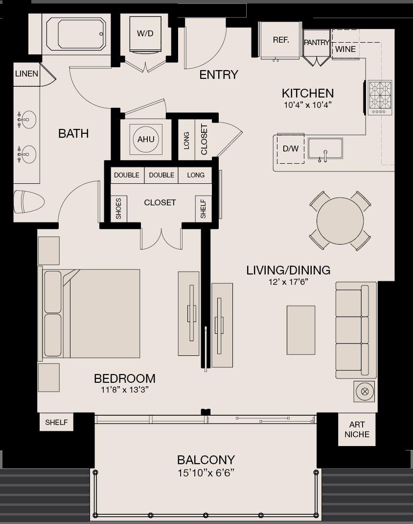 859 sq. ft. floor plan