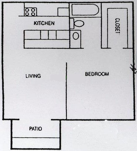 558 sq. ft. A2 floor plan