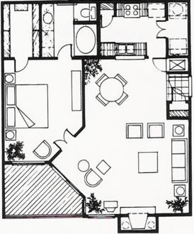 849 sq. ft. A floor plan
