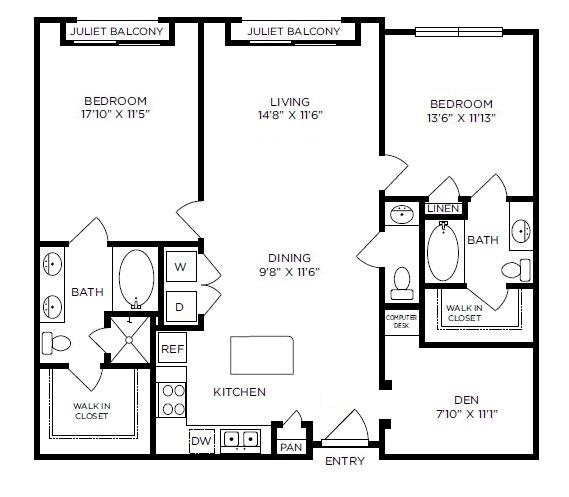 1,314 sq. ft. Notting Hill floor plan