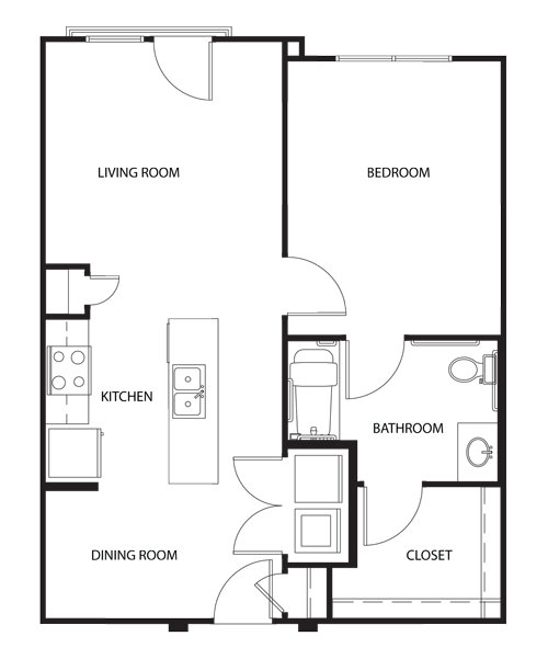 715 sq. ft. A1-HC floor plan
