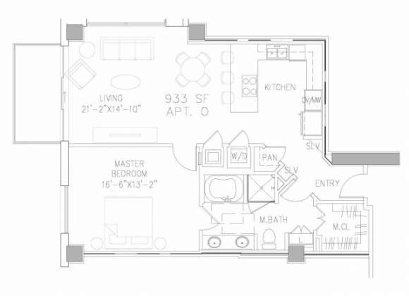 933 sq. ft. A1 floor plan