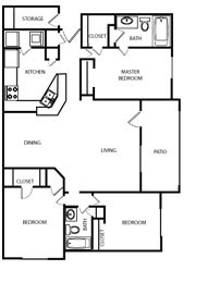 1,249 sq. ft. 60% floor plan
