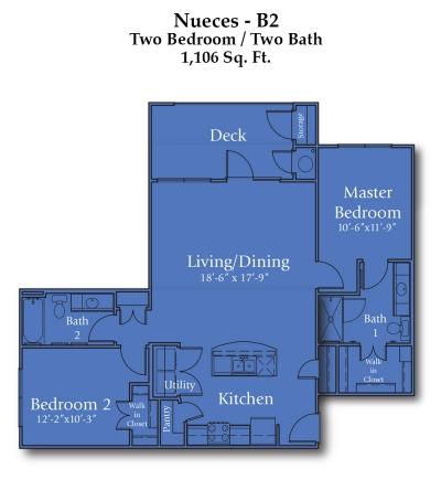 1,106 sq. ft. Comal/50% floor plan