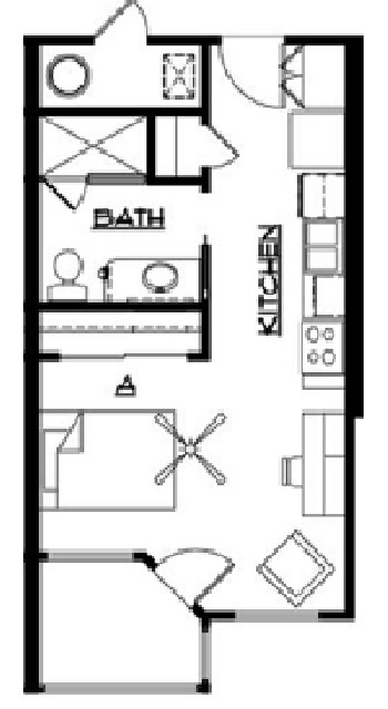 444 sq. ft. floor plan