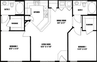 966 sq. ft. B1 floor plan