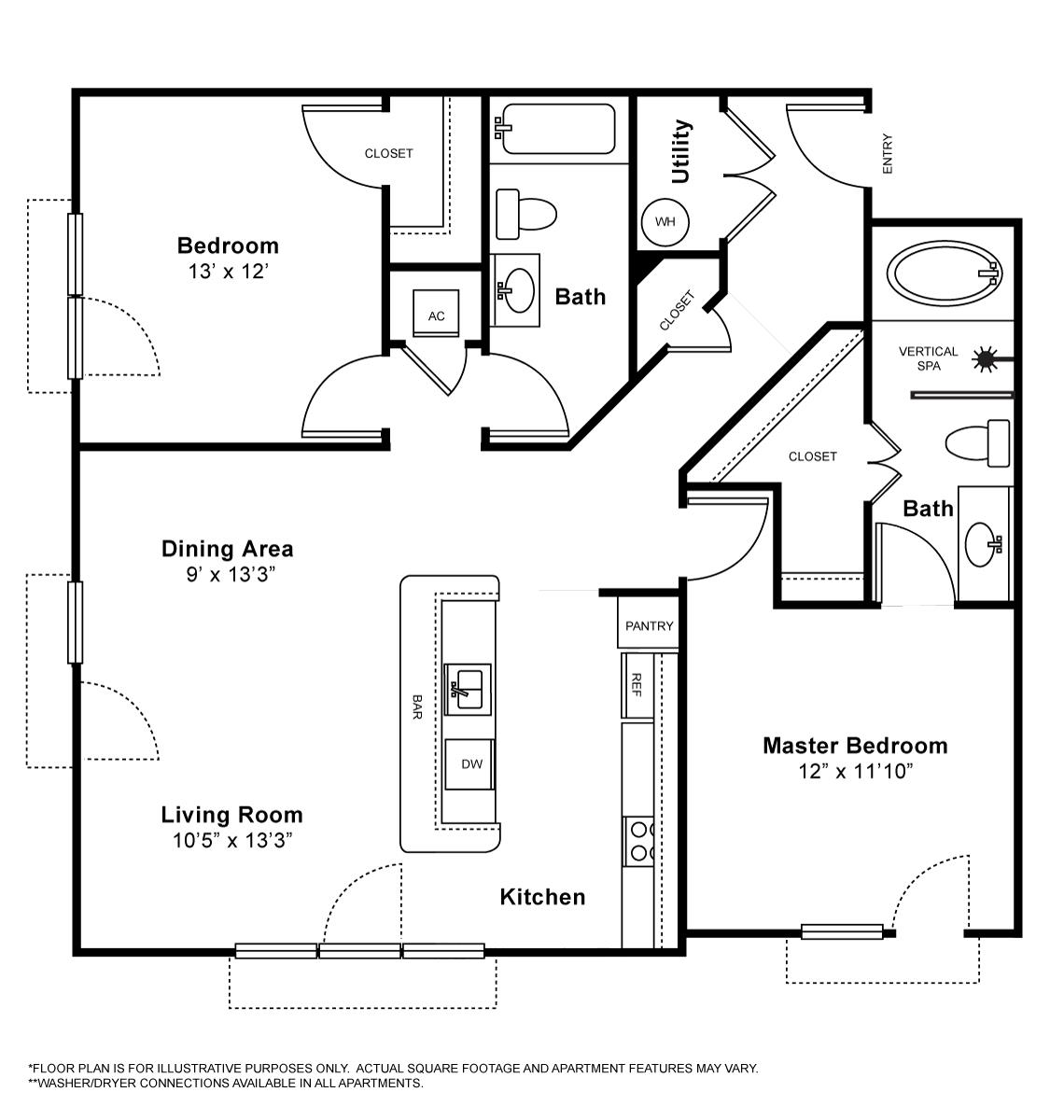 1,123 sq. ft. Sauvignon floor plan