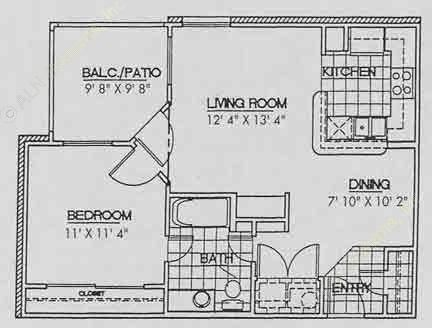 657 sq. ft. A1 floor plan