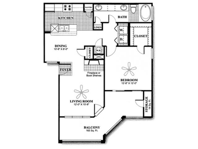 761 sq. ft. to 895 sq. ft. A2 floor plan