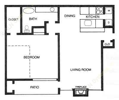 769 sq. ft. A2 floor plan
