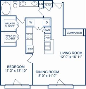 876 sq. ft. Milan floor plan
