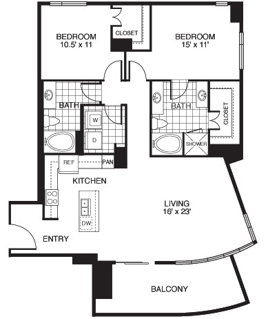 1,406 sq. ft. B3/TOWER floor plan