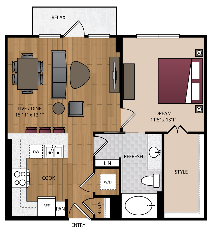 746 sq. ft. P-A9 floor plan