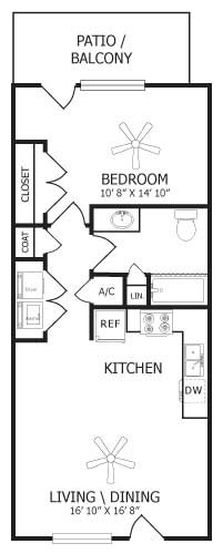 749 sq. ft. A2/Lily floor plan