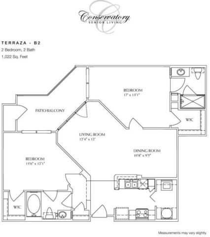 1,022 sq. ft. Terraza floor plan