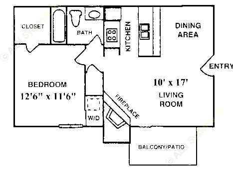 576 sq. ft. A-2 floor plan