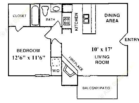 576 sq. ft. A-2 floor plan