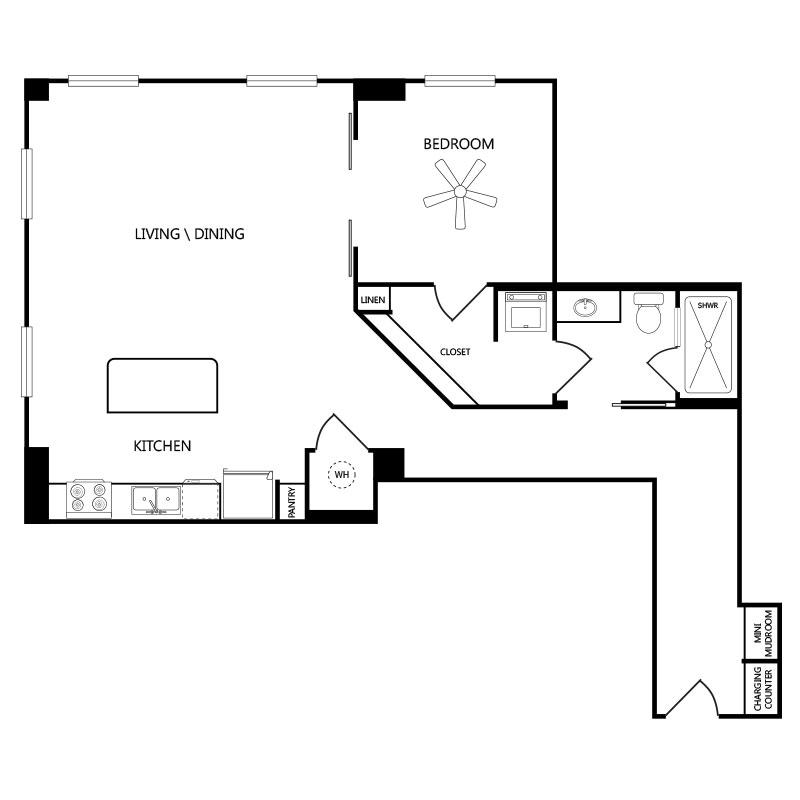 959 sq. ft. A4 floor plan