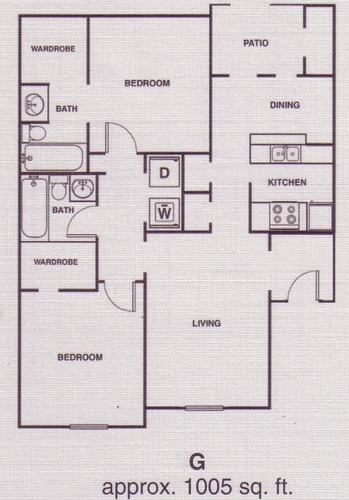 1,005 sq. ft. C3 floor plan