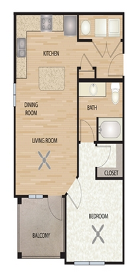 668 sq. ft. A1/Agave floor plan