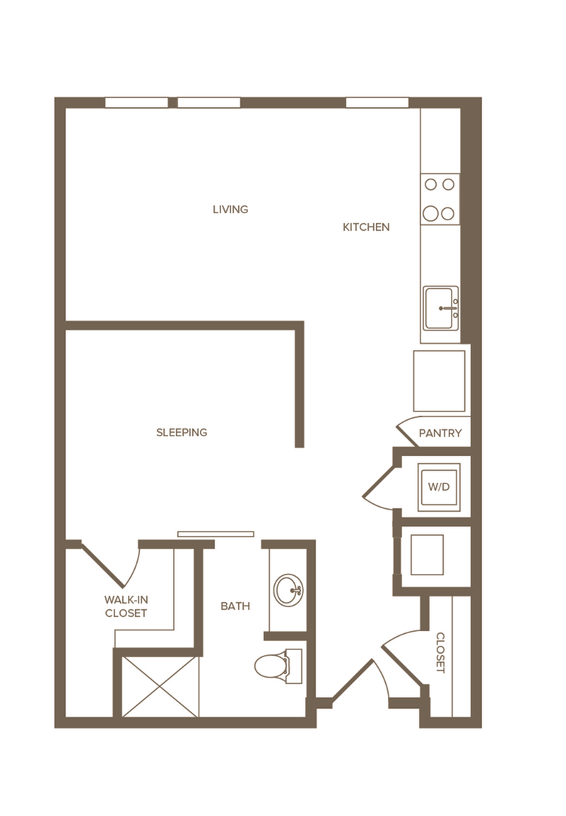 624 sq. ft. S3 floor plan