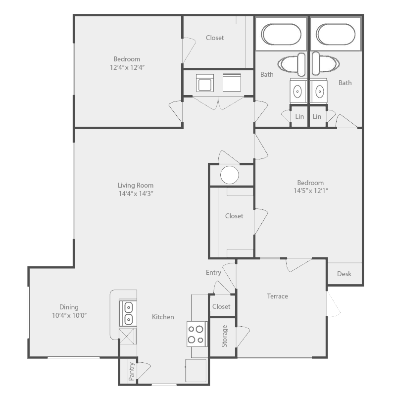 1,144 sq. ft. Rio Grande floor plan