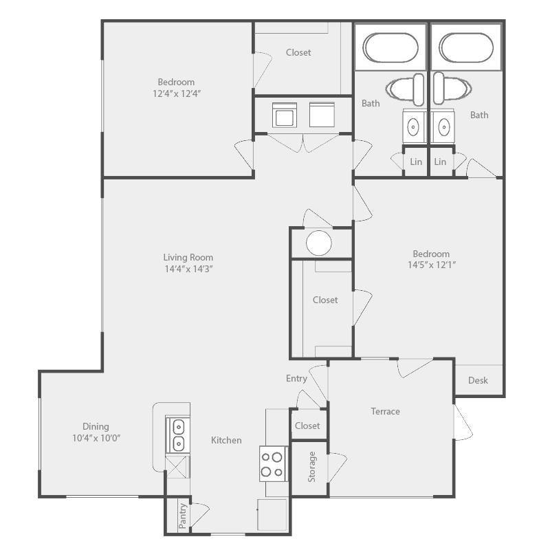 1,144 sq. ft. Rio Grande floor plan