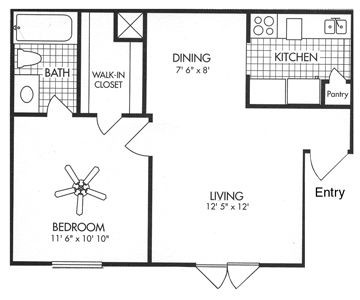 531 sq. ft. A2 floor plan