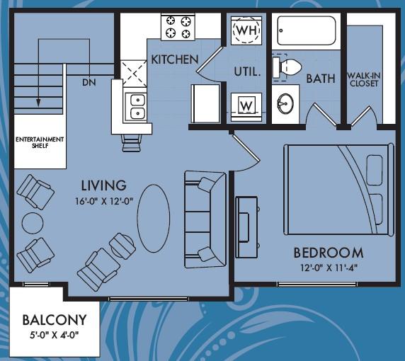 658 sq. ft. Halo floor plan