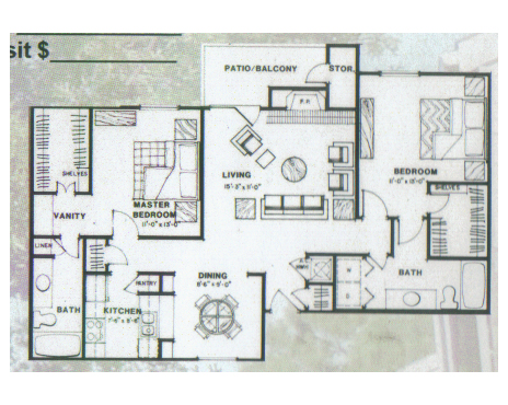 1,148 sq. ft. Evergreen floor plan