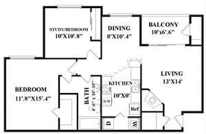 932 sq. ft. Cronkite floor plan