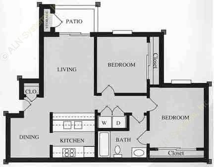 867 sq. ft. B1/60 floor plan