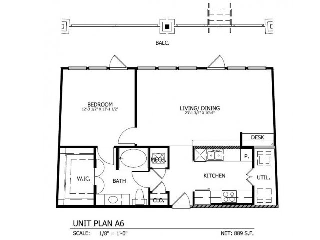 880 sq. ft. to 925 sq. ft. A.6 floor plan