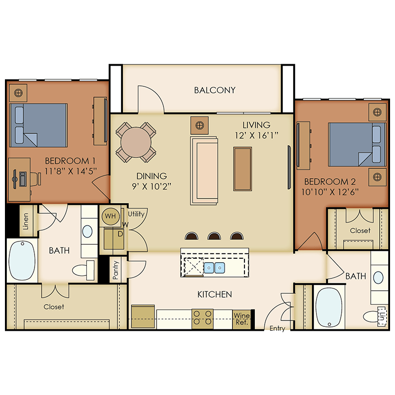 1,200 sq. ft. B6 floor plan